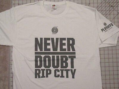 NEVER DOUBT Rip City T-SHIRT Mens L Portland Basketball Playoffs Moda Center PDX