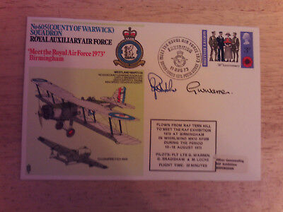 Rare No 605 WARWICK SQUADRON AUXILIARY AIR FORCE Signed Flown cover