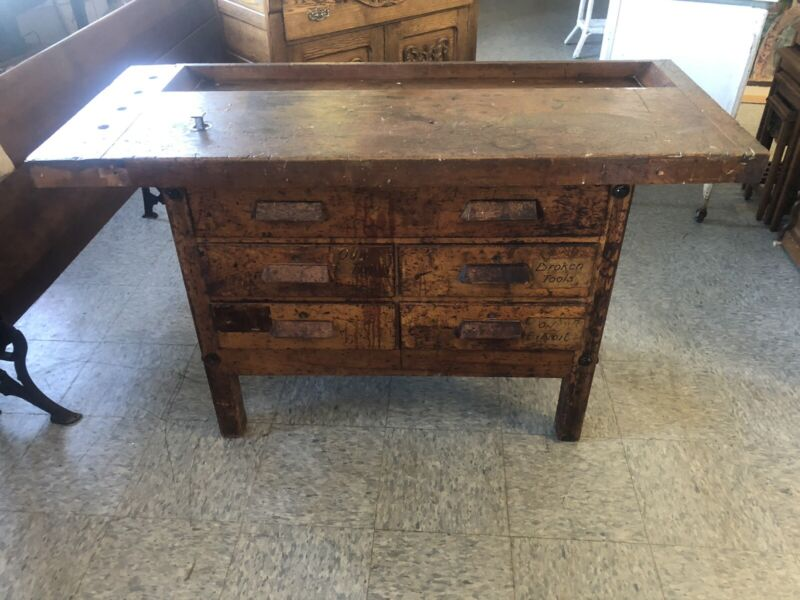 Vintage Carpenters Workbench Table Kitchen Island