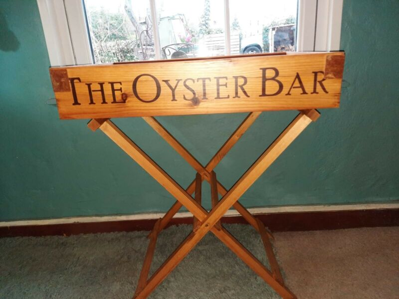 OYSTER BAR WOODEN BUTLERS TRAY TRAY WITH STAND