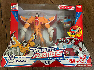 2008 TRANSFORMERS ANIMATED SUNSTORM AND RATCHET SET NEW Target Exclusive