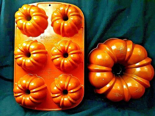 Vintage Orange Cast Aluminum BUNDT-lette Pan set of 2 by Nordic Ware non stick