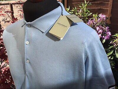 Mens - John Smedley - Dusk Blue Polo Shirt - Large