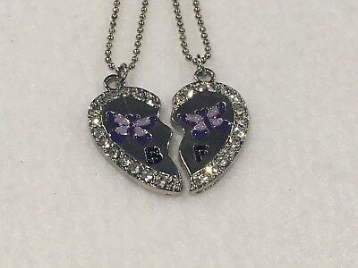 BEST FRIEND Purple Butterfly Heart Rhinestone 2 Pendants Necklace BFF Friendship