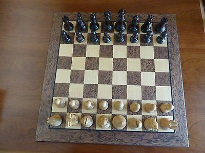 "Staunton Style Wood Chess Set, weighted pieces, Walnut/Maple 17"" veneer board"