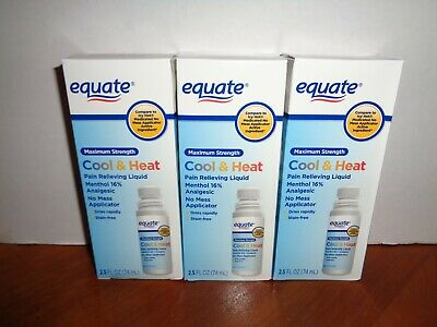 3 Equate Cool Heat Maximum Strength Pain Relieving Roll On Liquid 2.5 oz -