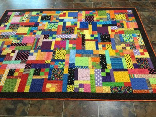 Handmade Twin Scrappy Bright, Multi-Color Quilt—65 x 88 inches