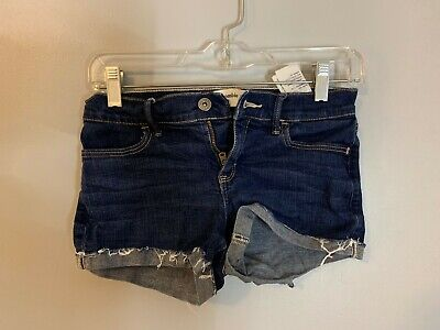 girls abercrombie kids shorts, shortie short, dark wash, size 9/10
