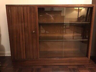 1950's/60's Wooden Display Cabinet (appx 120x80x30cm) with Glass Slide Door.