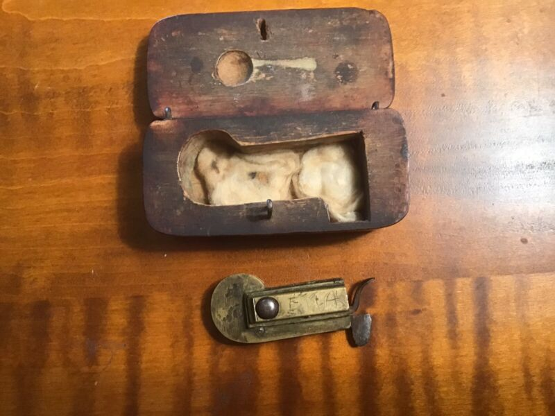 Antique 18th Spring Loaded Lancet, Custom Wooden Box, Initialed, Primative
