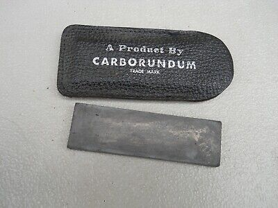 """Lee E. Olsen Knife Co. Carborundum Sharpening Stone with pouch Used 3/4""""x 3""""x1/4"""