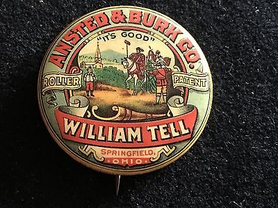 VINTAGE ANSTED & BURK CO WILLIAM TELL SPRINGFIELD OHIO BUTTON WHITEHEAD & HOAG