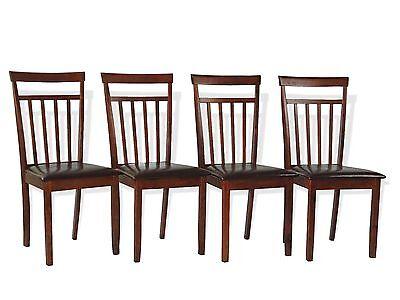 Rich Dark Walnut (Rich Dining Chair Set 4 Piece Dark Walnut Finish Solid Wood Padded Seat )