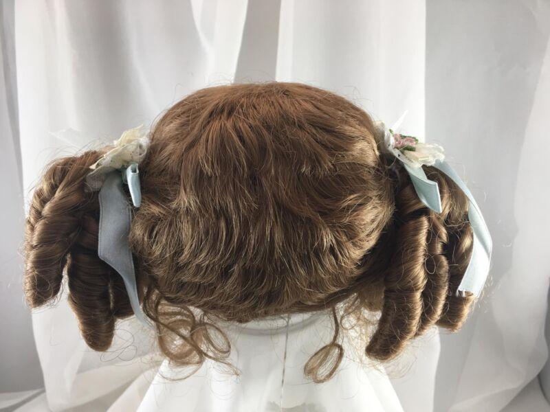 "12/13.5"" Ringlet Ponytails Auburn Doll Wig Reborn OOAK BJD Repair HILDEGARD"