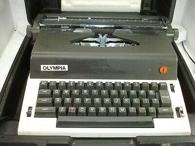 Vintage Olympia Electric Typewriter With Hard Plastic Case, Works, Portable