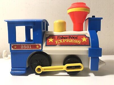 1986 Fisher Price Little People Vintage Express Train Engine Car #2581 USA