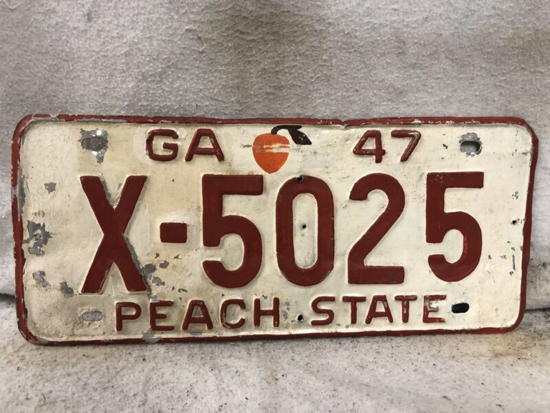 Vintage 1947 Georgia License Plate (Repaint)