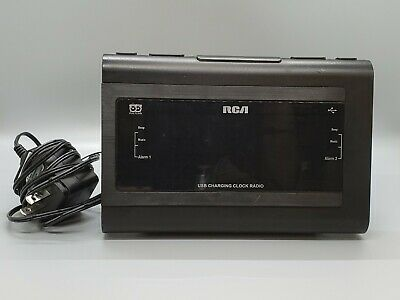 RCA Clock Radio RC142-D Dual Alarm Wake USB Charging Aux In Black Case *Tested*