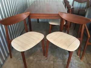 Mid century modern Danish Teak dining table and 4 chairs