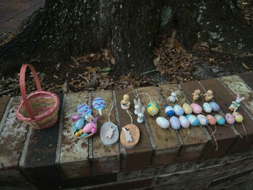 26 Vtg Midwest Importers Hand Painted WOODEN EASTER Eggs Chicks Bunny Ornaments