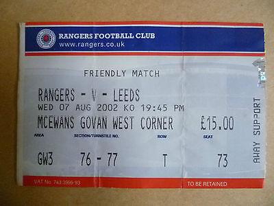 Ticket 2002 Friendly Match- RANGERS v LEEDS , 7 Aug
