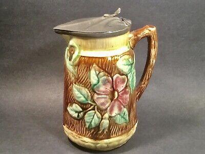 Antique English Majolica Grapes Syrup Pitcher Jug c 19th