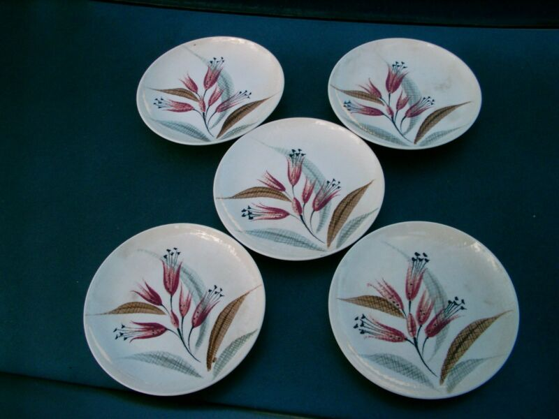 "ORIENT WARE  RED WILD FLOWERS  JAPAN CHINA  DINNERWARE LOT 0F 5  6.25"" PLATES"