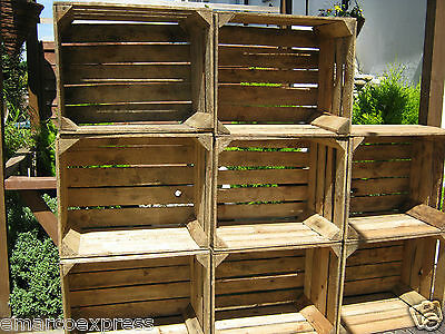 4 Vintage Wooden Apple Crates, ideal storage boxes