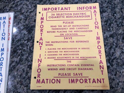 VTG Original National Vending Machine Manual Cigarette Merchandiser Cabaret 36