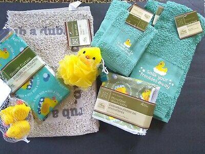 Rubber Duck Theme Bathroom Hand Towels, Shower Curtain, Bath Sponge, Toys, Mat
