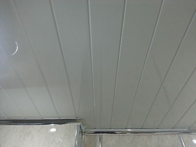 3 Twin White Groove Strip PVC Ceiling Paneling Decor Ceiling Cladding panels