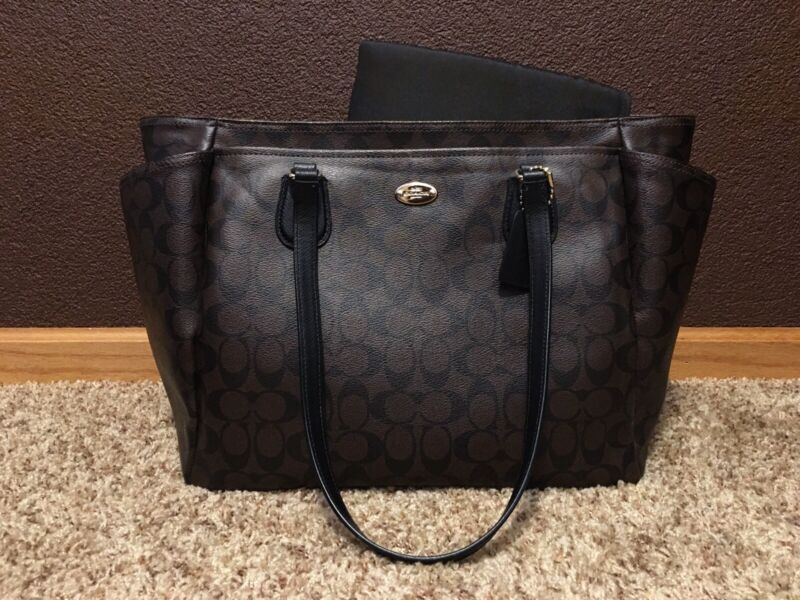 Pre-Owned*Excellent Condition* Monogram Coach Diaper Bag w/Changing Pad*Brown