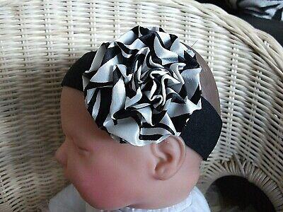 BABY/REBORN DOLL 3 INCH BLACK AND WHITE SATIN ZEBRA PRINT ROSETTE HEADBAND Zebra Print Baby Doll