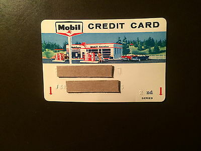 Mobil OIl Company 1960's Vintage Collectors Credit Card - Classic Graphics