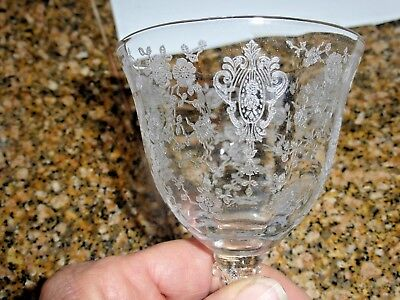 CAMBRIDGE 4 ETCHED ROSE POINT OYSTER/FRUIT COCKTAIL ELEGANT DEPRESSION GLASS
