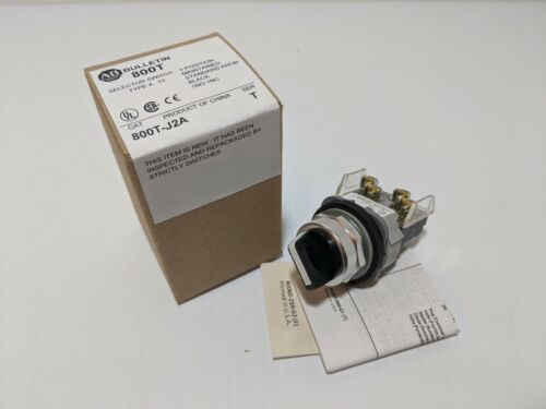 ALLEN BRADLEY 800T-J2A SELECTOR SWITCH 3 POSITION MAINTAINED 1 NO 1 NC SER T NIB