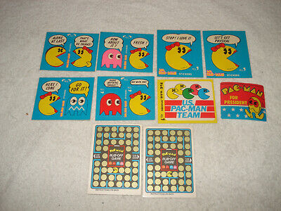 10 Vintage 1980-81 Ms. pac-Man stickers Rub-Off Fleer trading cards