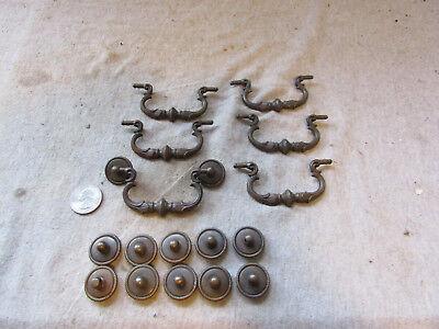 (6) VTG Antique Furniture Drop Handle Drawer Pulls Bails Back Plates Rope Edge