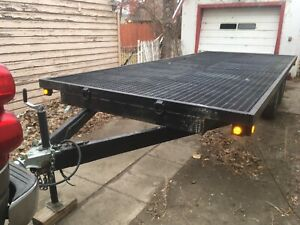 """20"""" flat deck trailer with ramps ObO negotiable price or trade!"""