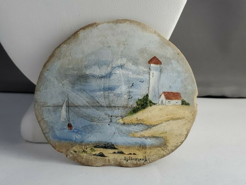 Hand Painted Bj Simmons Signed Sea Scape Sand Dollar