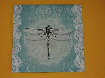 10 Servietten ROMANTIC DRAGONFLY Libellen filigran Serviettentechnik Ornamente Dragonfly Serviette