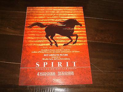 SPIRIT STALLION OF THE CIMARRON Oscar ad horse running for Best Animated Feature