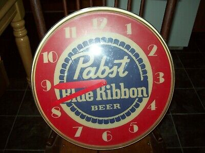 Vintage Pabst Blue Ribbon Beer Lighted Clock. ---- For PARTS or REPAIR ---