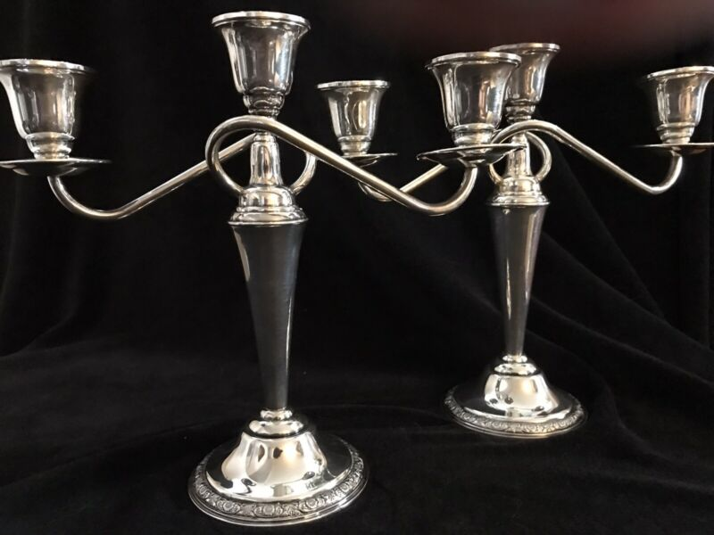 Pair, International Sterling (Convertible)Candelabra