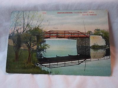Charles City Ia Iowa ,Bayou Bridge,  early postcard, 1909