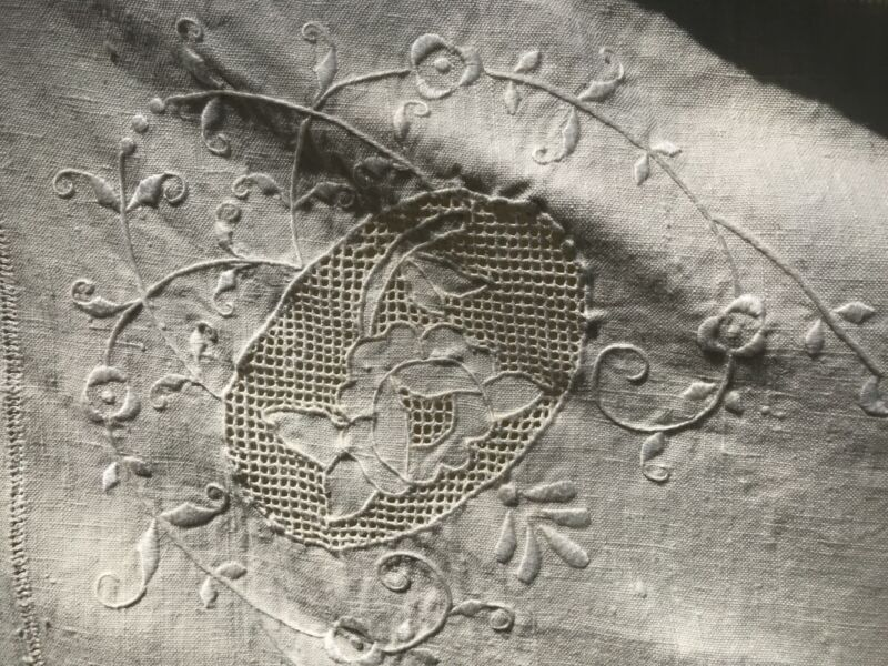 Antique Hemp Linen French Sheet / Bed Cover Floral Edge 1800's Heavy Large