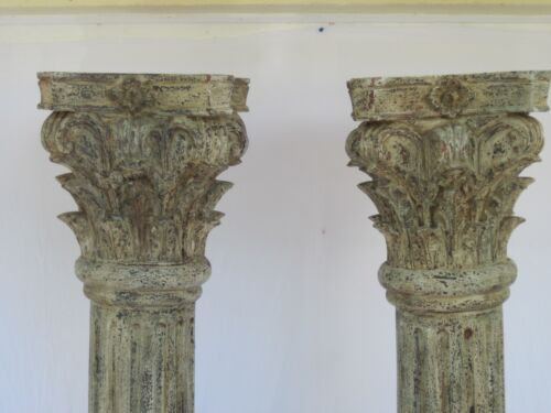 Pair Architectural Corinthian Carved Wood Columns - Vintage