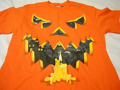 Carving Faces Pumpkins Halloween (Halloween Men Tee Shirt Sz M 38-40 Orange Carved Face)