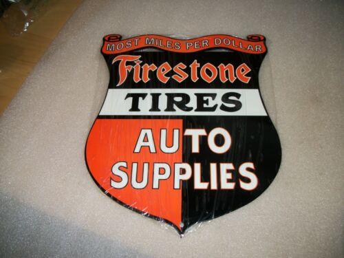 "VINTAGE LOOK ""FIRESTONE TIRES AUTO SUPPLIES"" DIE-CUT 12"" METAL TIRE DEALER SIGN"