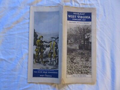 West Virginia State Road Map February 1937 Issued By The State Road Commission